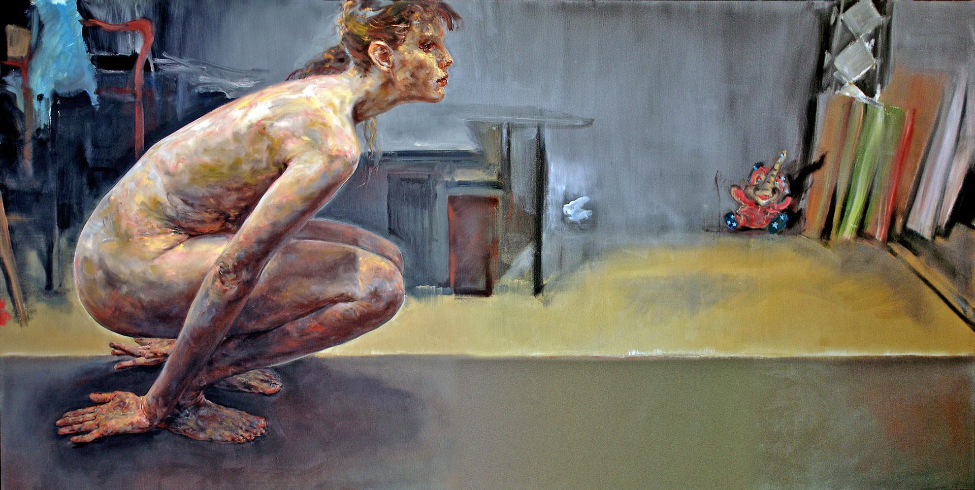 Springerin 2004 155 x 310 cm peinture à l'huile sur toile par Günther Roeder
